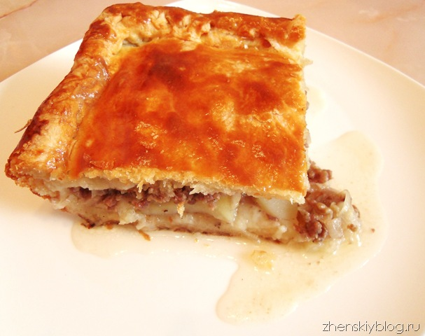 пирог слоеный с мясом и с картошкой